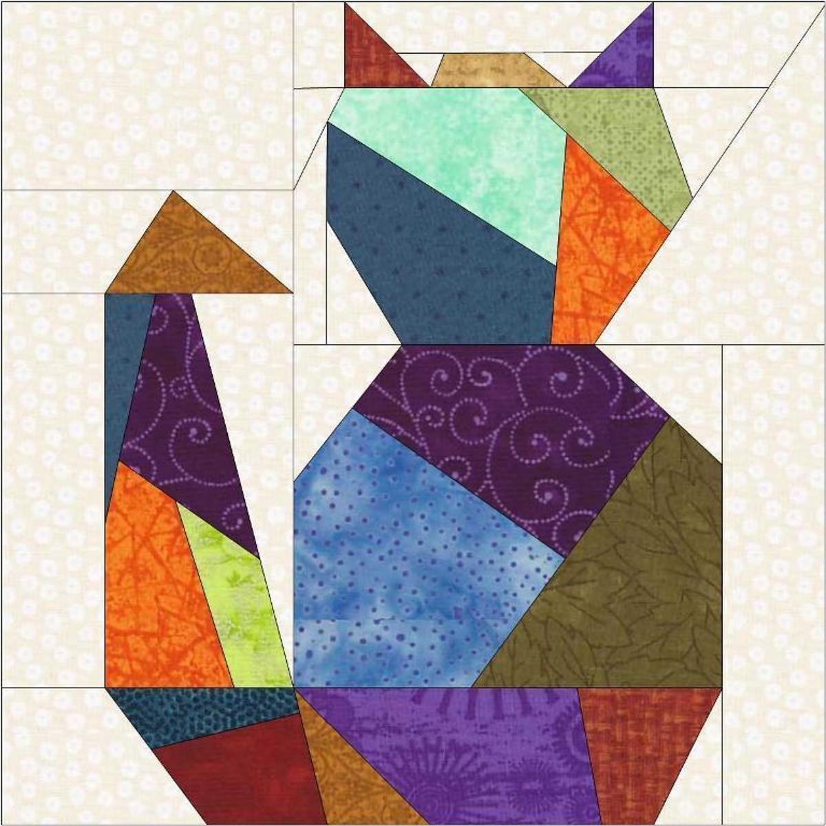 Crazy Cat Two Paper Piece Quilt Block   Pinterest   Handarbeiten