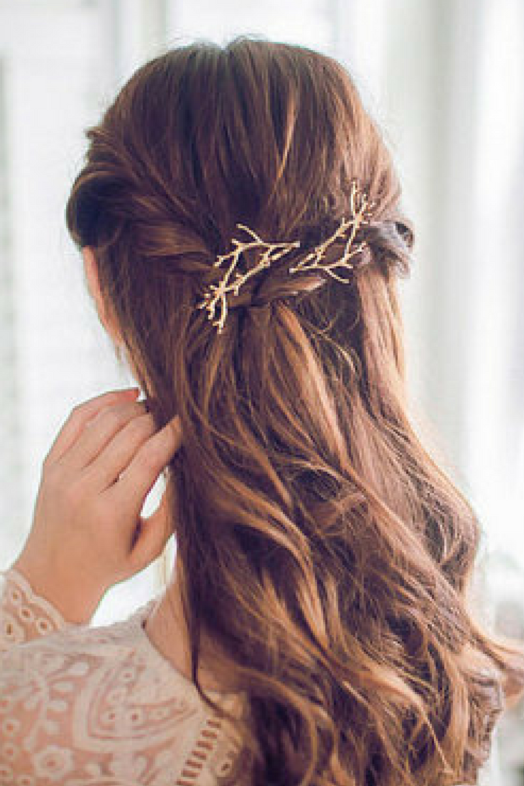 Barrette Hairstyles Best Gold Tree Branches Bobby Pin Branches Hair Pingold Brass Twig