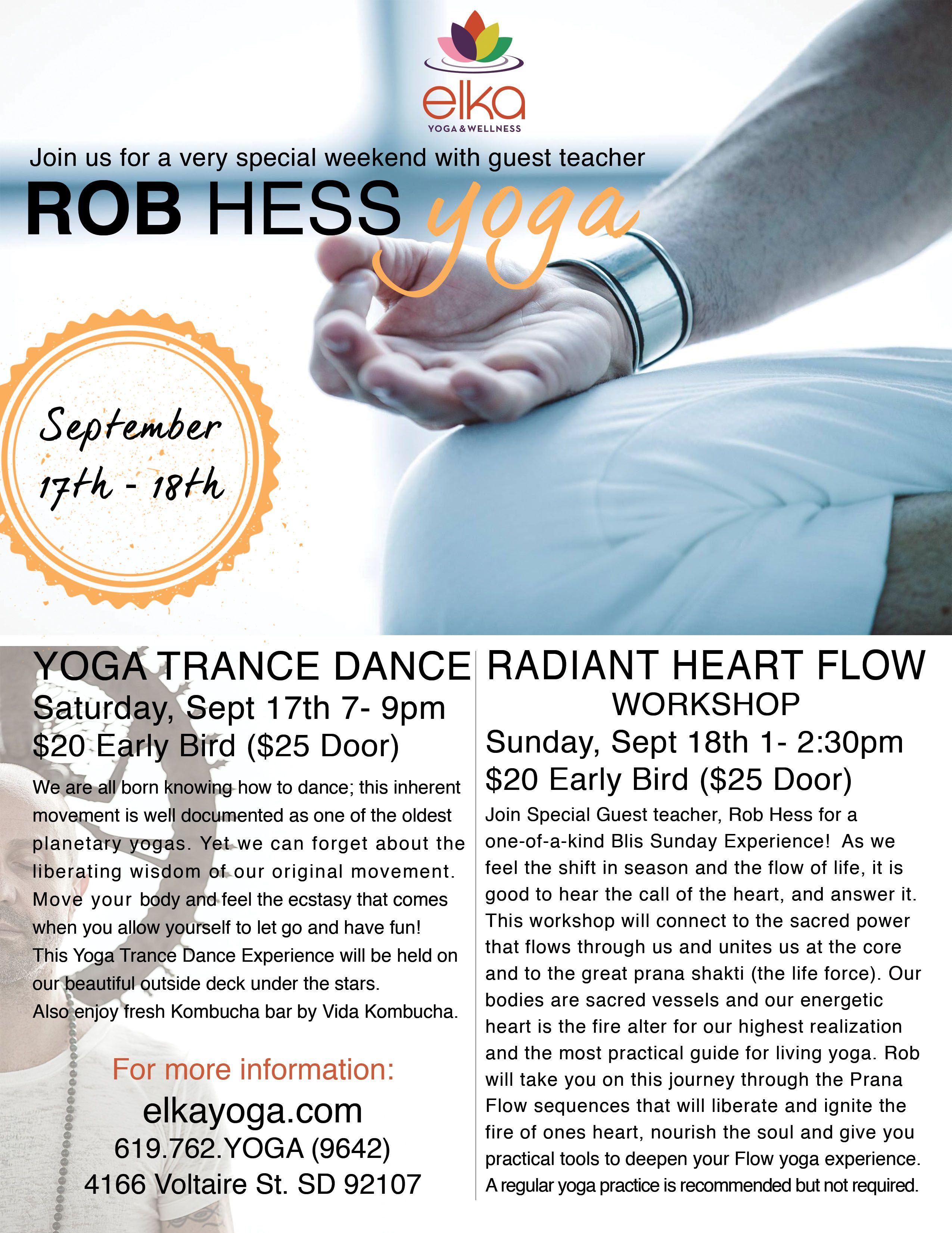 Rob Hess Yoga Workshops Flyer Design By Camila Badaro Client Elka And Wellness