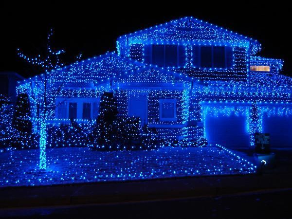 Blue christmas light outside display .just think r how neat our