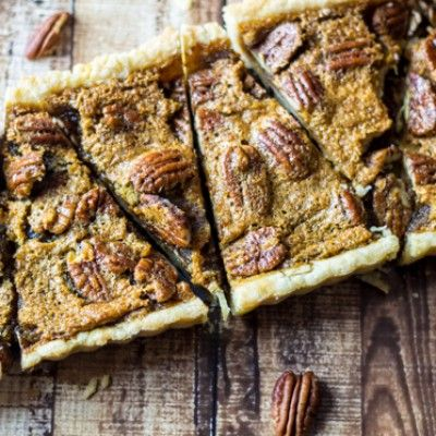 Easy Bourbon Pecan Tart courtesy of @wanderlustkitch #recipe #pecantart #dessert