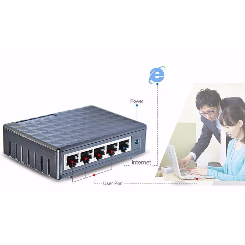 EU Plug 5-Port 10/100/1000Mbps Fast LAN Ethernet Network