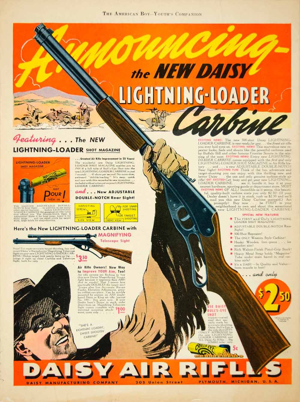 1939 Ad Daisy Air Rifle Lightning Loader Carbine BB Gun