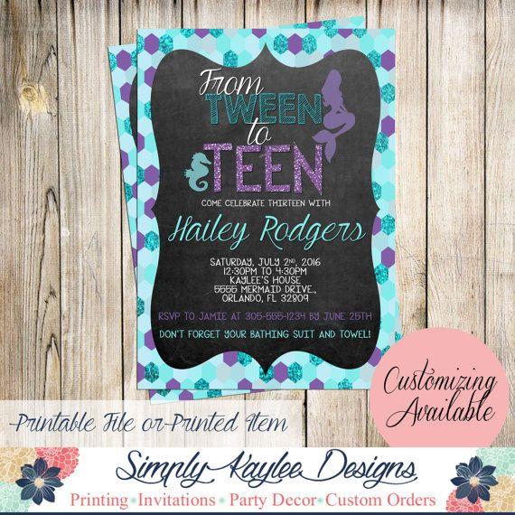 Tween To Teen Mermaid Birthday Invitation By SimplyKayleeDesigns Party For Teens 13th Parties