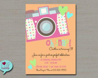 Tween Teen Birthday Party Invitation, Photo scavenger hunt, photo booth invitation, Oh snap! PRINTABLE DIGITAL FILE - 5x7