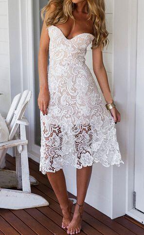 White Strapless Floral Crochet Lace Dress 19.33
