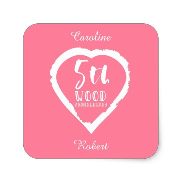 Traditional 17th Wedding Anniversary Gifts: 5th Wedding Anniversary Pink Heart Square Sticker