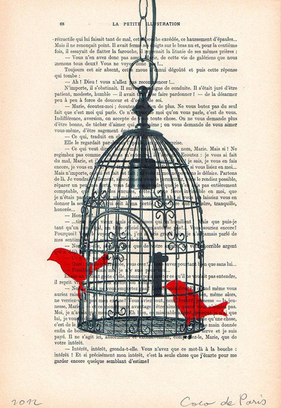 Antique Book page Art Print Bird Cage Tree Birds Vintage Dictionary Wall Art