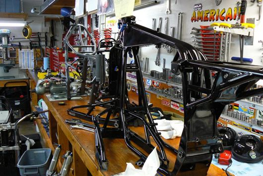 Mule motorcycles garage workshop solid bench tops on for Garage design tool