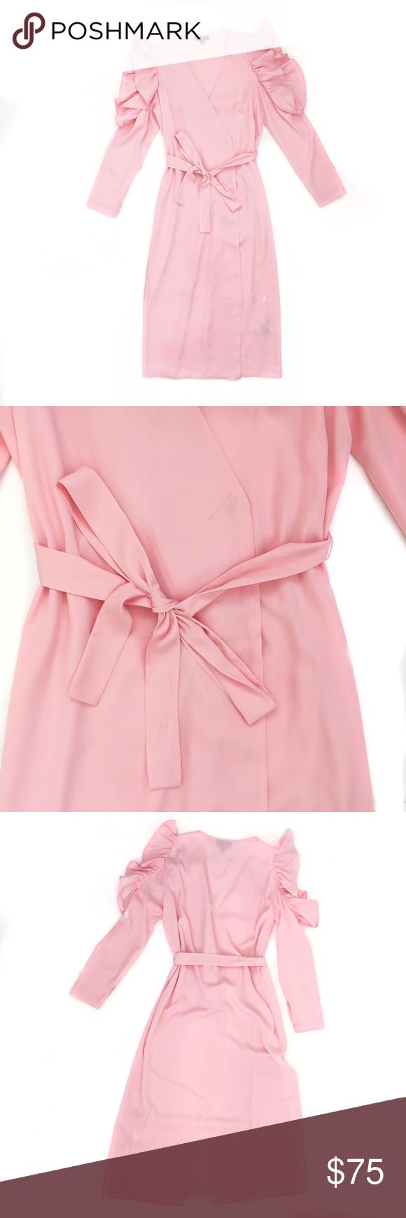 Pink dress topshop  Topshop Cold Shoulder Ruffle Sleeve Wrap Dress  Ruffle sleeve Wrap