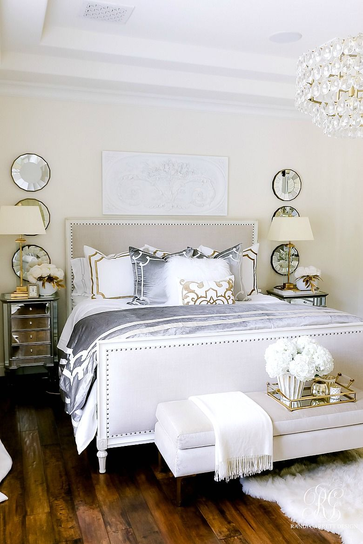 Luxurious Silver And Gold Fall Bedroom Randi Garrett Design In 2021 Elegant Master Bedroom Blue And White Bedding Fall Bedroom Master bedroom ideas gold
