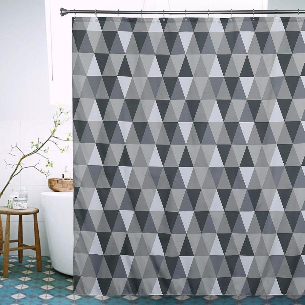 Click To Buy U003cu003c Gray Triangle Shower Curtain Modern Stylish Thick  Waterproof Mildew