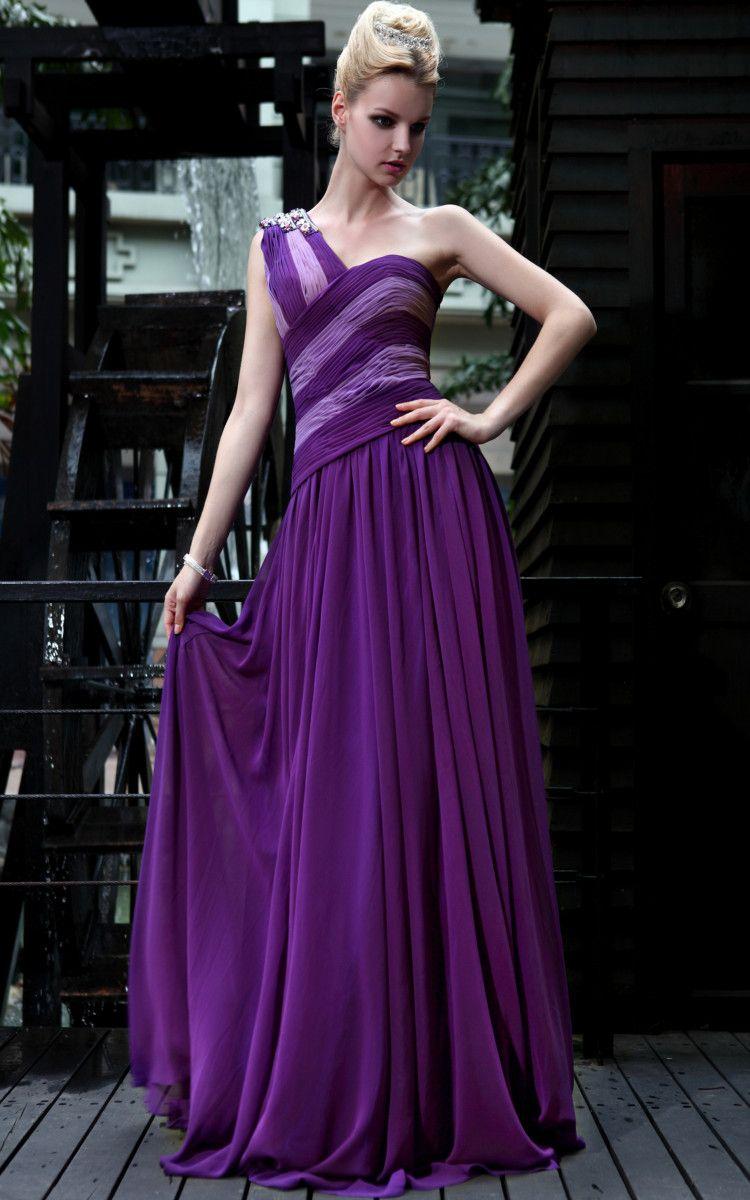 One shoulder beading long purple prom dress prom dresses