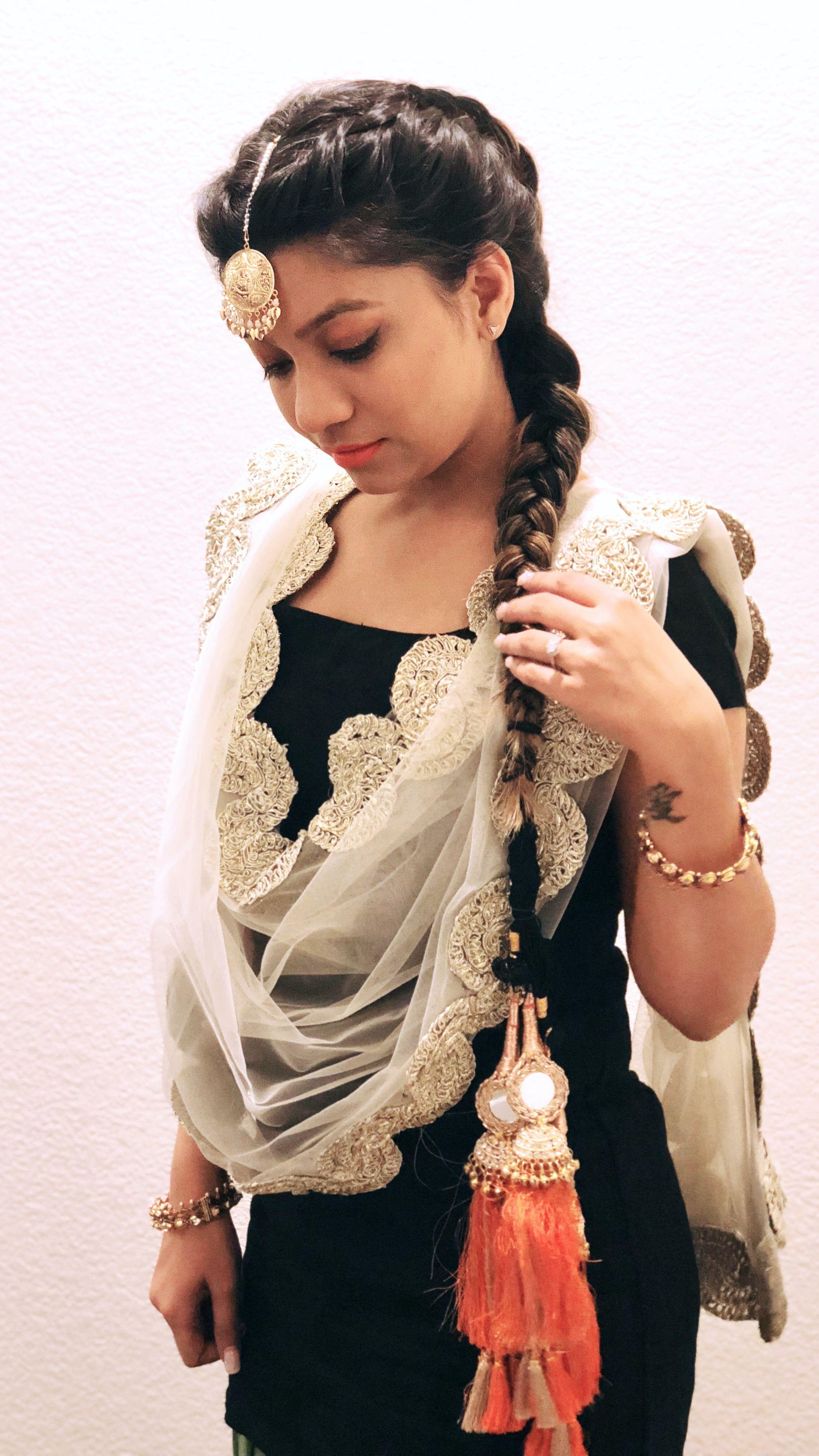 patiala suit, parandi te tikka | punjabi hairstyles, indian