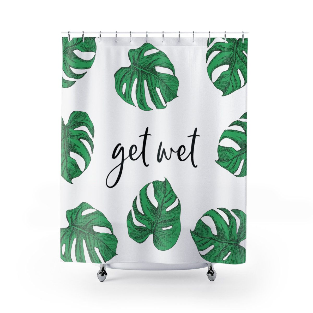 Get Wet Shower Curtain Get Wet Funny Shower Curtain Tropical
