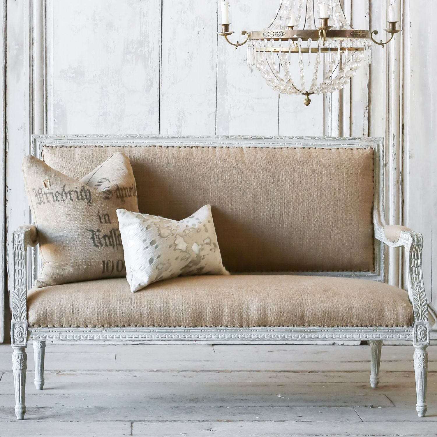 Eloquence One of a Kind Vintage Settee Louis XVI Weathered Gray Burlap #laylagrayce