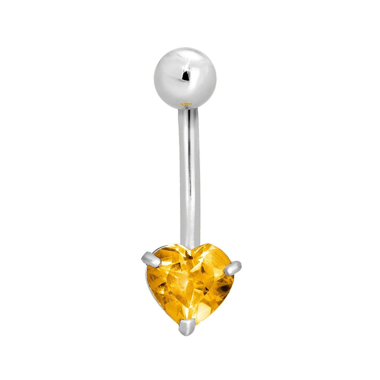 14k Yellow or White Gold Belly Ring Heart Body Jewelry