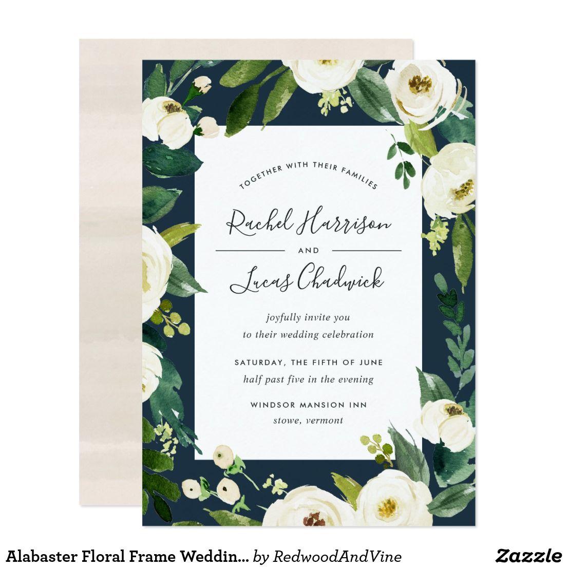 Alabaster Floral Frame Wedding Invitation | Green weddings, Floral ...