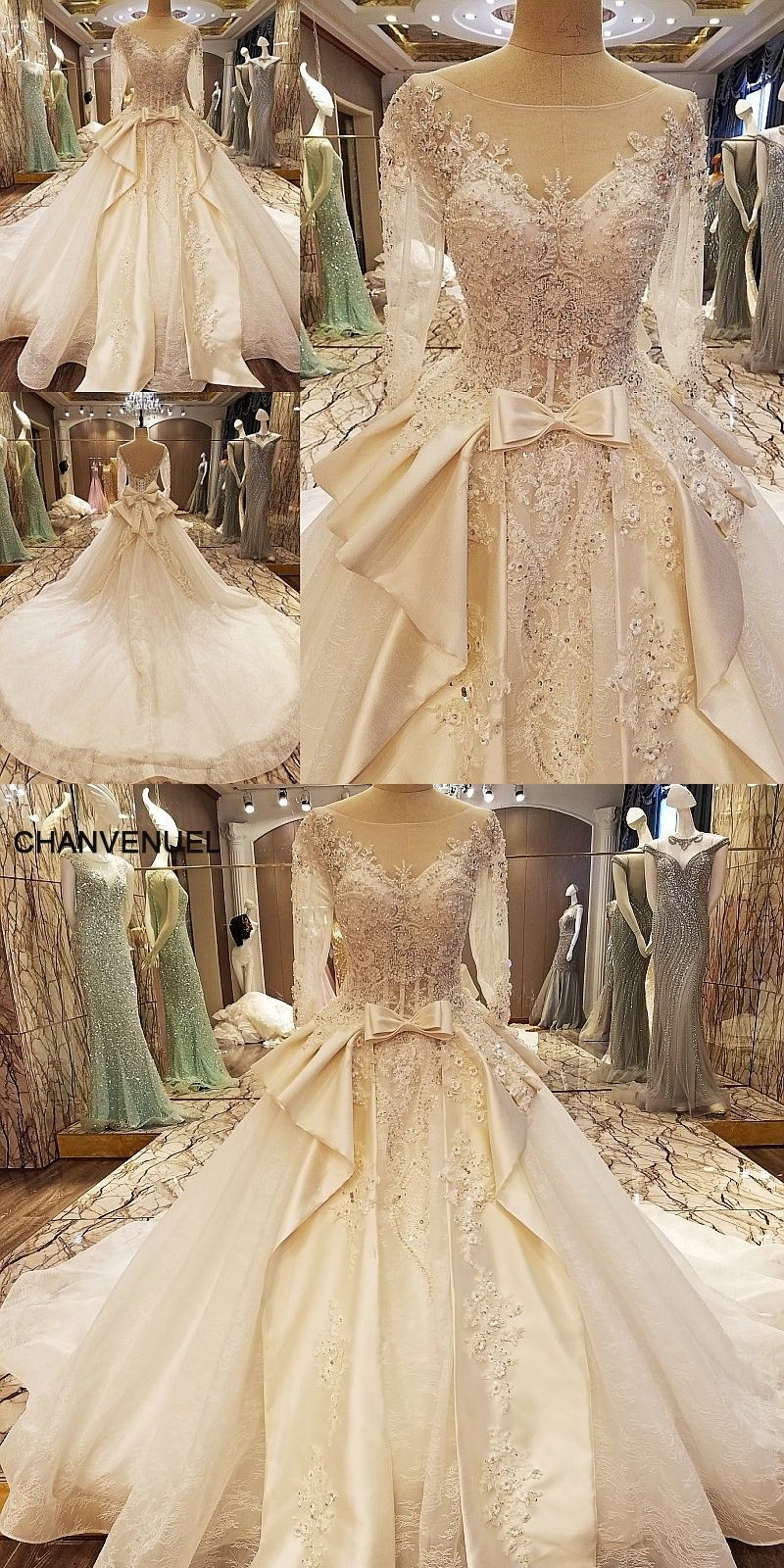 Wedding dress high neck open back  LS elegant China bridal gowns beading ball gown corset back