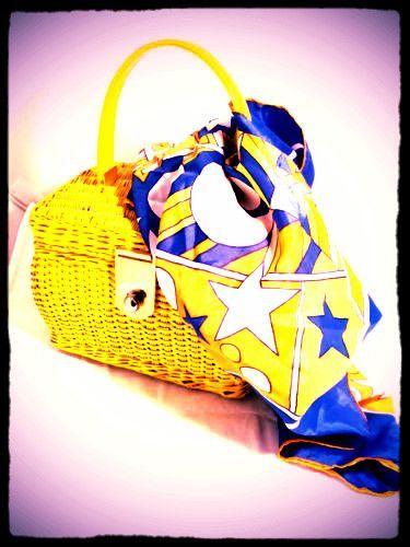 Burmel Original Scarf Acetate Made in Japan Yellow Blue Orange White Stars True Vintage Accessory