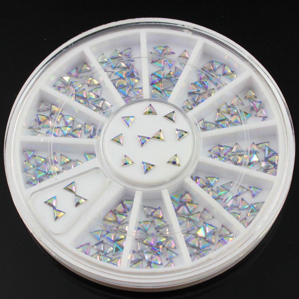Dreieck Design Acryl 3D Nail art Nieten Glitter AB Strass Rad DIY ...
