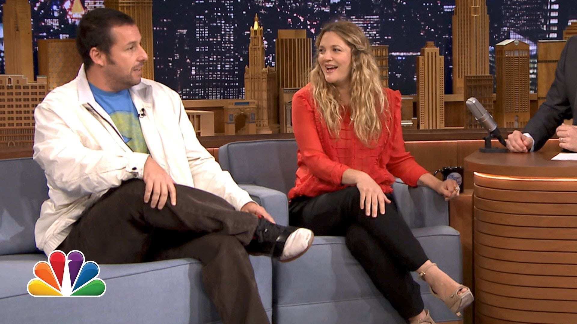 Adam Sandler Cosby Show drew barrymore gets a surprise call from adam sandler | late