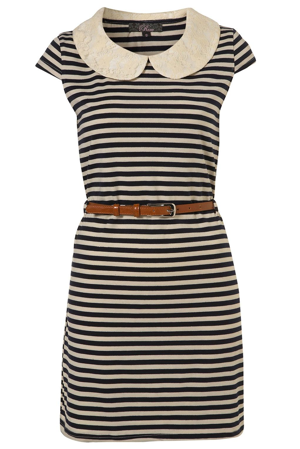 Topshop navy blue striped shift dress with lace Peter Pan ...