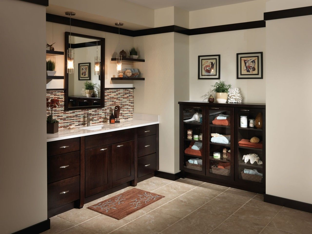 Bathroom Dark Brown Bathroom Sink Cabinets With White