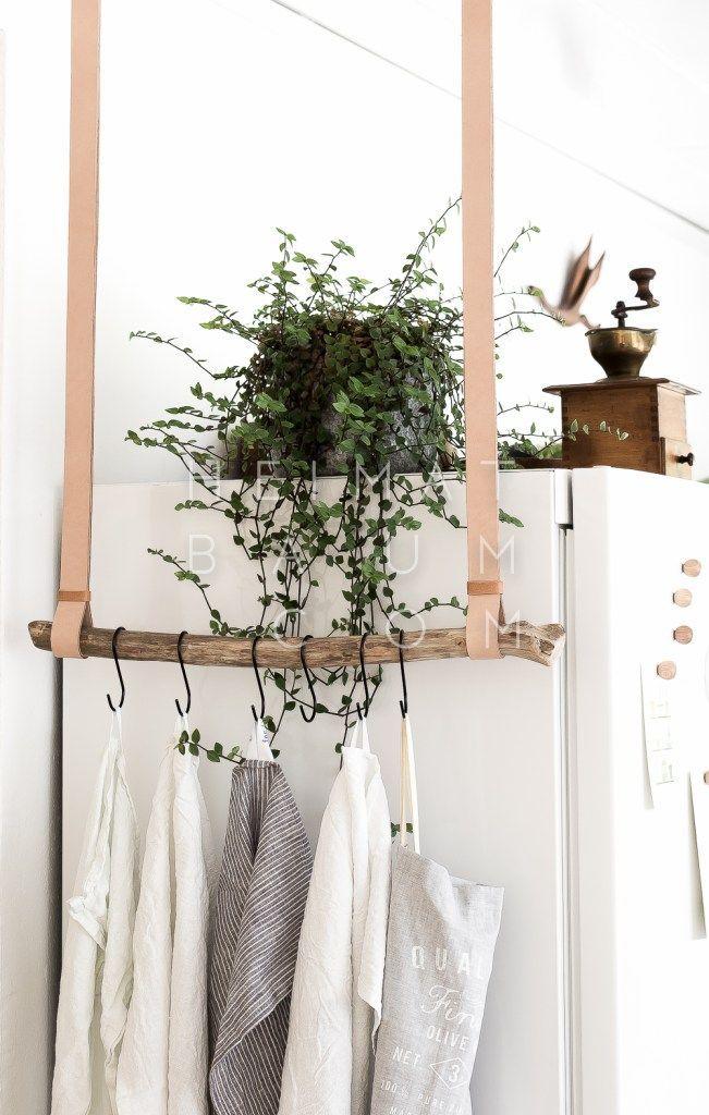 Geschirrtuchhalter aus Leder und Treibholz  DIY  – HEIMATBAUM
