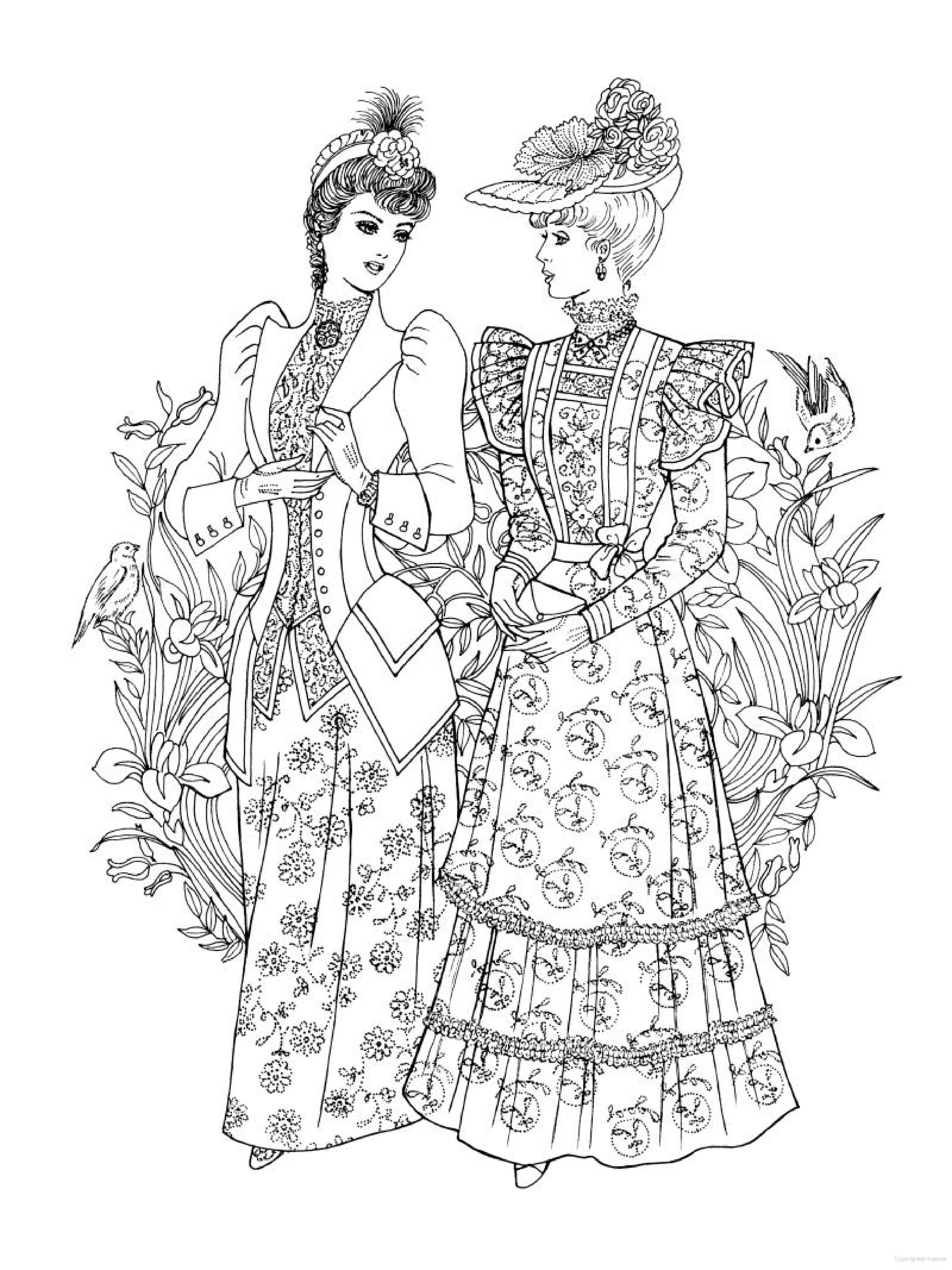 creative haven art nouveau fashions coloring book historical