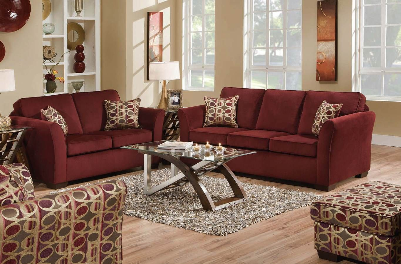 Jayda Upholstery Malibu Wine Living Room Set 50580-Set | Living ...