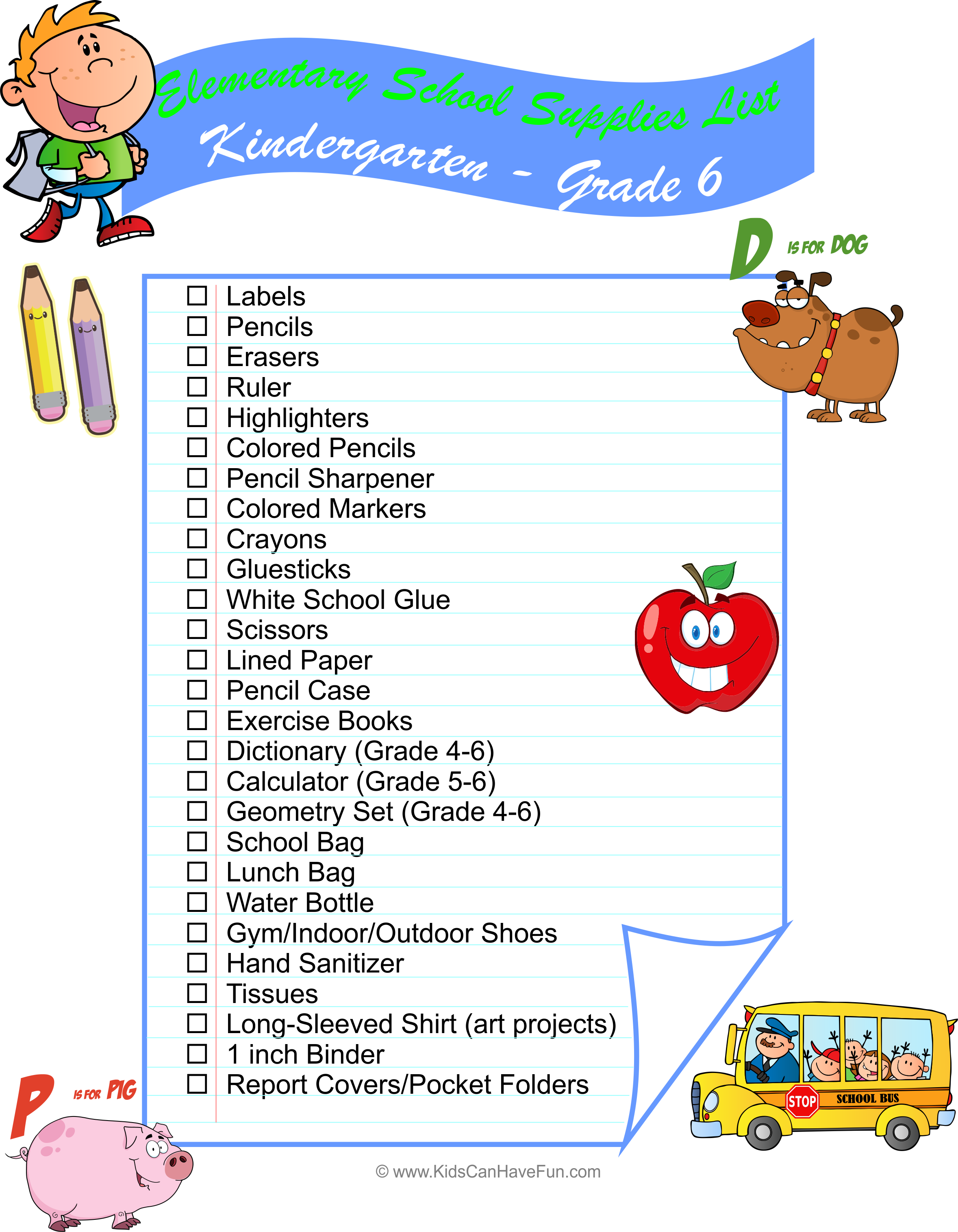 Elementary School K 6 Supplies List To Help Get The Kids