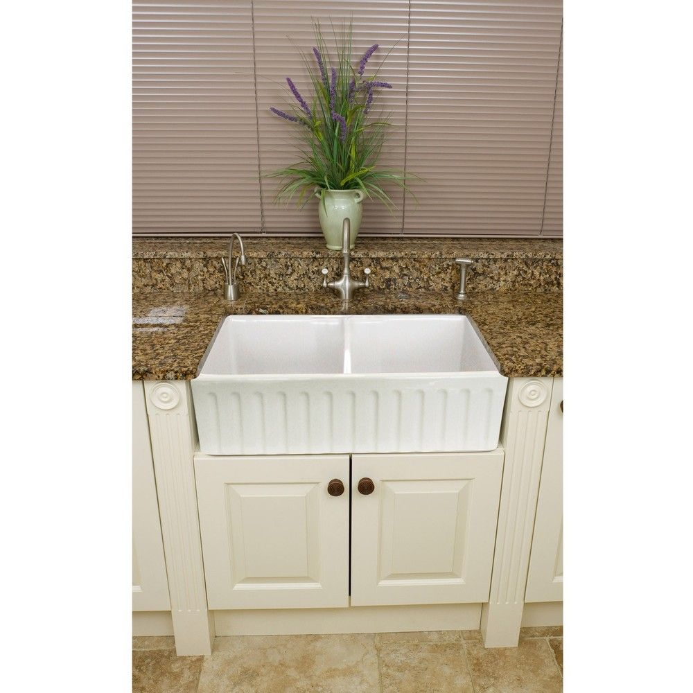 Fireclay snowdon inch farmhouse double kitchen sink overstock