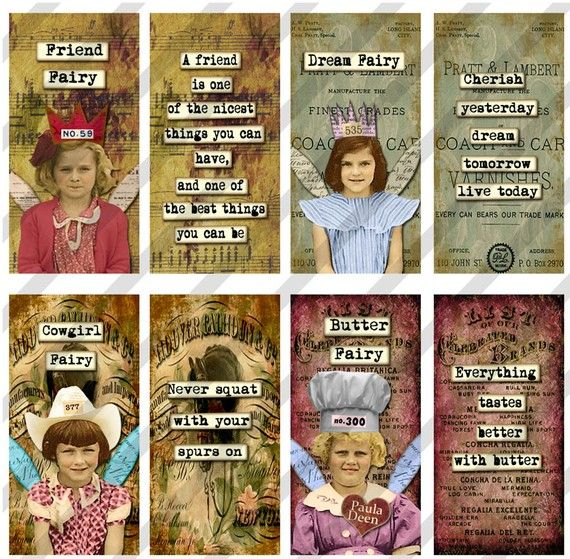 Digital Collage Sheet 1 X 2 inch Domino Sized Happy Fairies (Sheet No. FS123) Instant Download