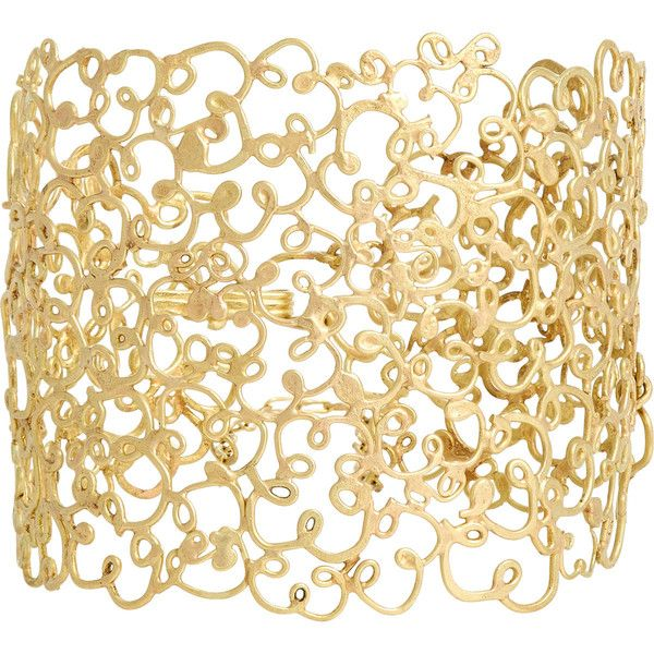 Judy Geib Women's Gold Meanderer Bracelet (€3.460) ❤ liked on Polyvore featuring jewelry, bracelets, accessories, colorless, 18k gold jewellery, gold jewellery, gold bangles, gold filigree jewelry and 18 karat gold bangles