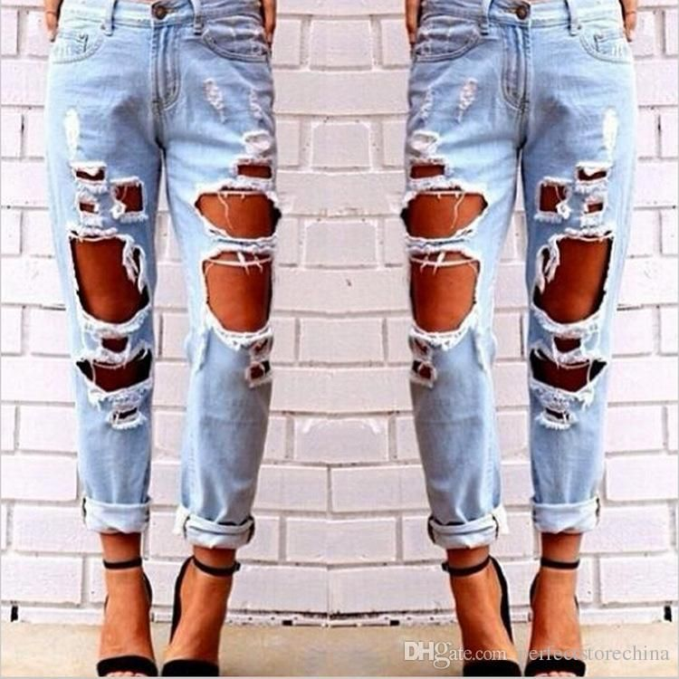 b3dc6a94d1e 2015 Boyfriend Jeans for Women Fashion Ripped Holes Jeans 26 27 28 29 30 31  32 Plus Size Design Vintage Casual Hot Pants Clothing Online with   17.7 Piece on ...
