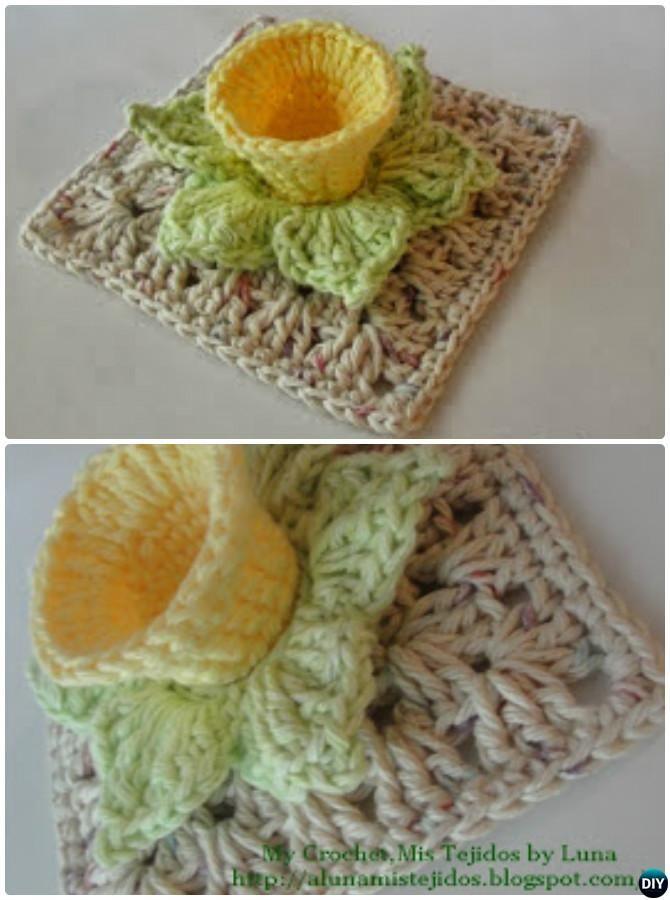Crochet 3D Daffodil Flower Granny Square Free Pattern   Crochet ...