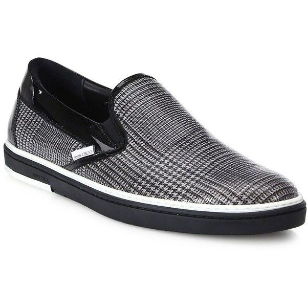 Jimmy Choo Check-Print Leather Slip-On Sneakers (1.855 BRL) ❤ liked on  Polyvore featuring men's fashion, men's shoes, men's sneakers, ...