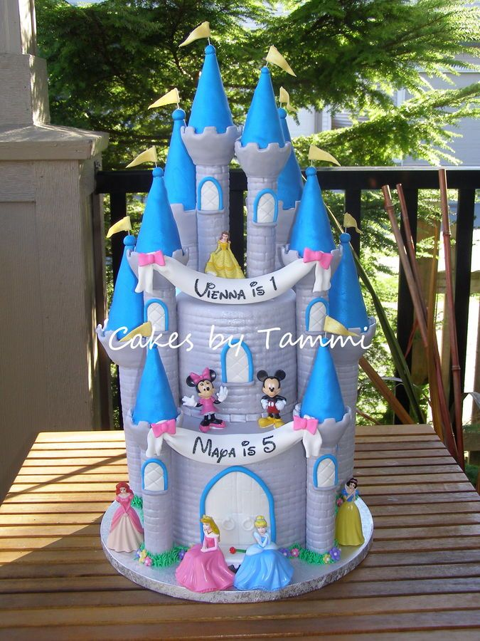 These are 5 8 cakes covered in fondant with 10 turrets from