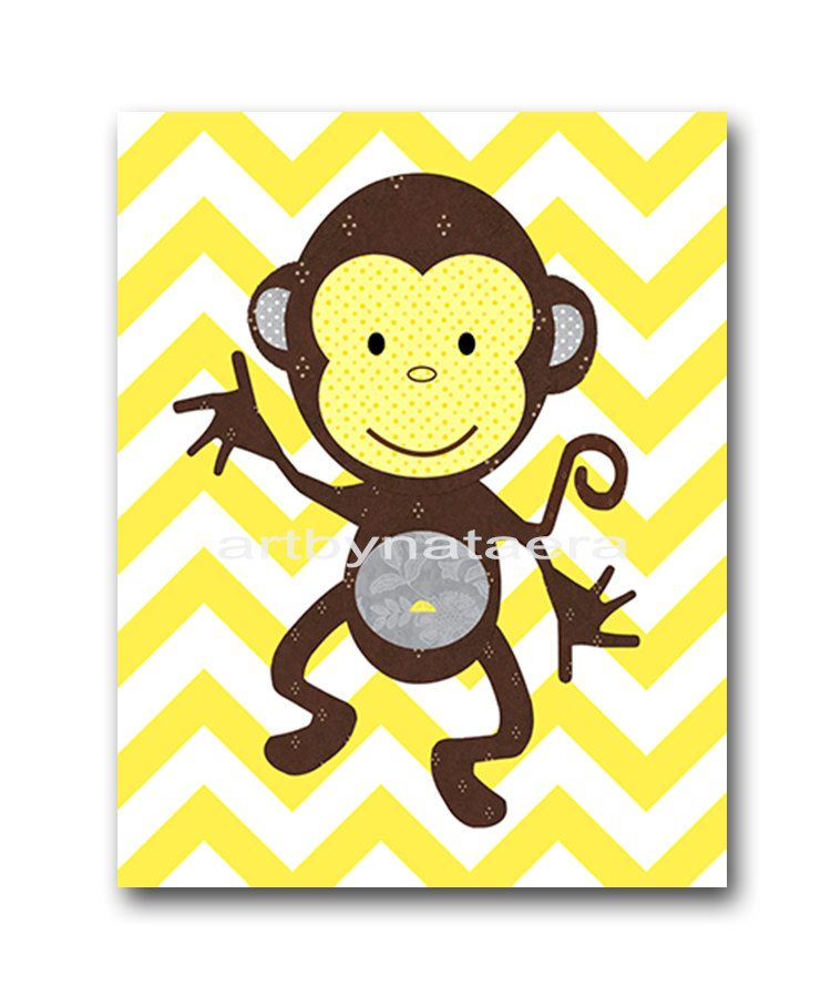 Kids Wall Art Monkey Nursery Baby Nursery Decor Baby Girl Nursery ...