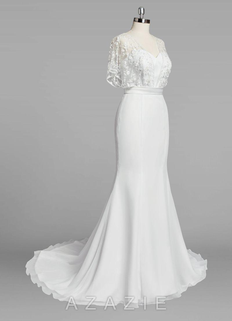 Shop azazie bridal gown fallon bg in chiffon find the perfect