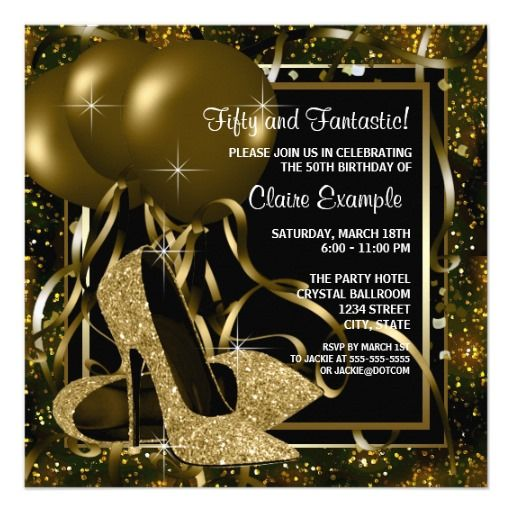 Black Gold High Heels Womans Birthday Party Card Birthdays