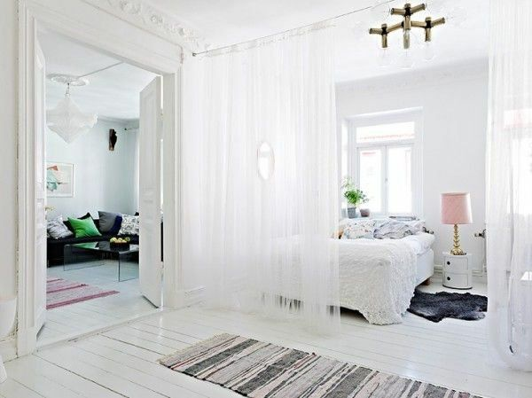 Trennwand schlafzimmer ~ Vorhang trennwand raumteiler ideen elegant schlafzimmer