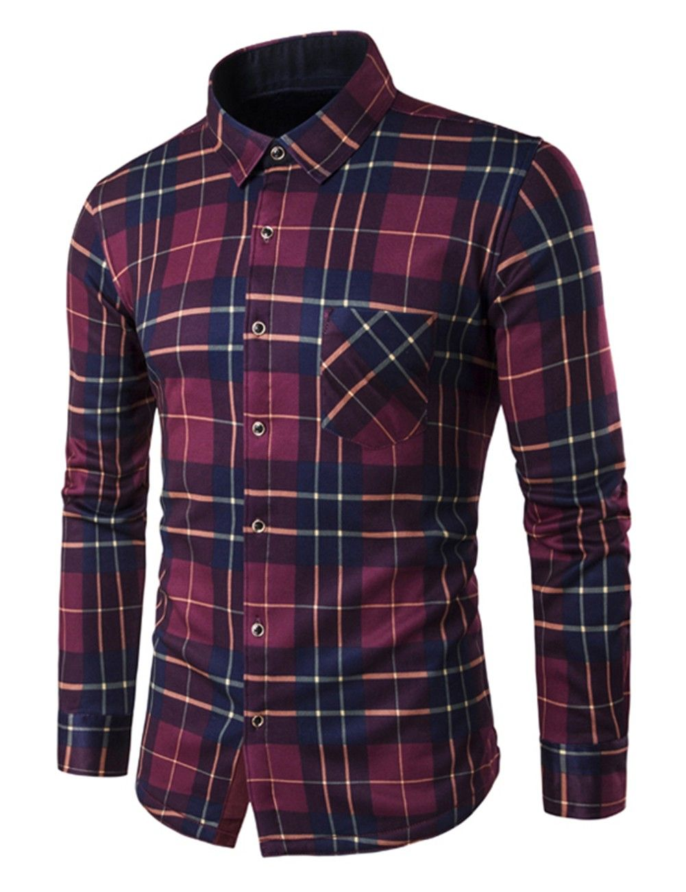 Fleece vs flannel  Men Fleece Lining Casual Plaid Long Sleeve Shirt Thermal Flannel