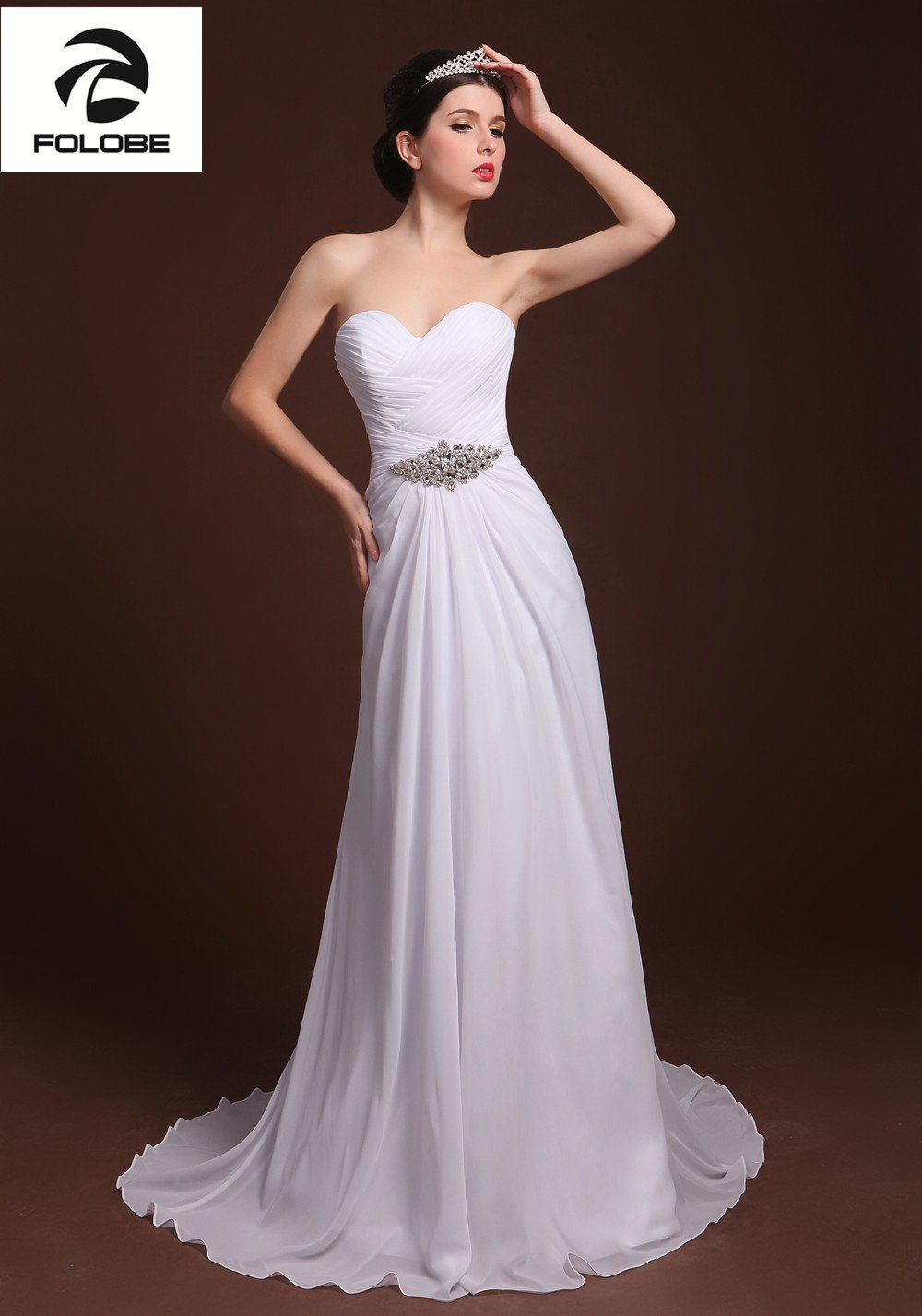 Wedding dresses for a beach wedding   Vestido De Casamento Custom Made WhiteIvory Chiffon Strapless