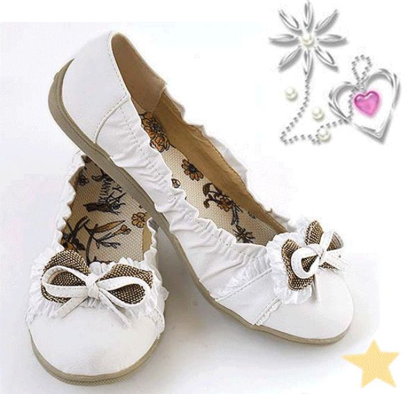 DAISY White Lace Slip On Ballet Flats Dress Shoes NEW Girls Youth S.O