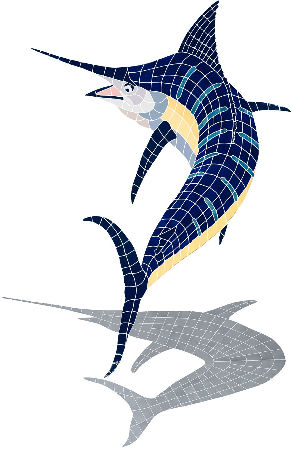 Action marlin w shadow mosaic tile design by artistry in mosaics action marlin w shadow mosaic tile design by artistry in mosaics available at aquablu dailygadgetfo Images