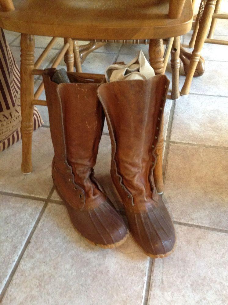 "vintage antique Mens L L BEAN boots 13"" size 11M  MAINE HUNTING SHOE #LLBean #huntingshoe"