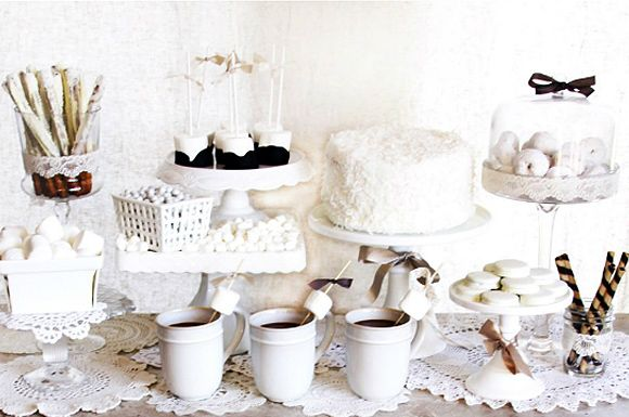 like the vintage winter white dessert party idea