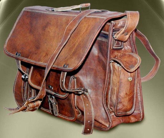 Handcrafted Leather Satchel Messenger Bag For Men Women 15 Inch